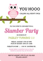 Whimsical Pink Owl Slumber Party Invitation