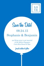 Blue and White Contemporary  Save the Date Announcement