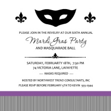 Black Mask with stripe Mardi Gras Invite