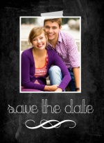 Peach Chalkboard  Save The Date Card