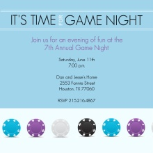 Blue and Purple Poker Chips Game Night Invitation