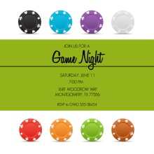 Colorful Poker Chips Poker Party Invitation