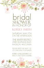 Spring Floral Border Bridal Shower Invitation