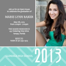 Gray and Turquoise Graduation Invitation