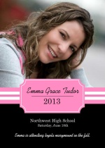 Pink Nameplate Graduation Announcement