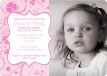 Pink Clover St. Patricks Day Birthday Party Invite