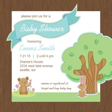 Woodland Animals Boy Baby Shower Invitation