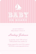 Pink Stripe Sail Boat Girls Baby Shower Invite