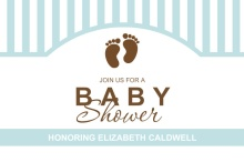 Blue and Brown Baby Feet Boy Baby Shower Invitation