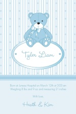 Little Blue Bear Boy Baby Announcement