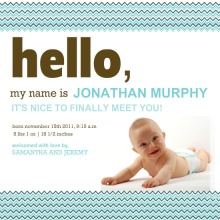 Blue and Brown Stripes  Birth Announcement