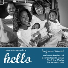 Blue Hello Photo Baby Announcement