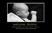 Black Photo Inset Birth Announcement