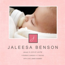 Pale Pink Monogram Photo Girl Baby Announcement