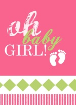 Diamond Pink and Green Baby Girl Announcement