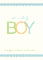 Baby Boy Quad Fold Sibling Baby Announcement