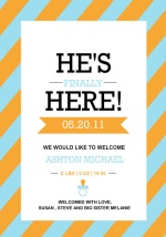 Blue and Orange Stripe  Baby Announcement