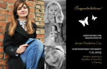 White Butterfly Graduation Announcement