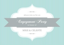 Turquoise Stripe and Banner Engagement Party Invite