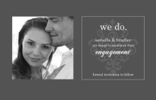 Grey and White Flourish Engagement Announcement