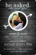 Rustic Wood Blue and White Engagement Party Invite