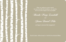 Taupe and White Birch Trees Engagement Announcement