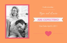 Orange and Pink Bursting with Joy Pregnancy Announcement