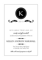 Elegant Black Monogram  Announcement