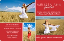Red and White Classy Graduation Invitation