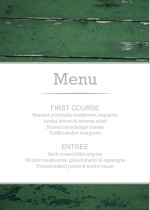 Green Wood Grain Photo  Wedding Menu