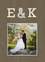 Wood Grain Rustic  Wedding Thank You Card