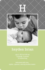 Green and Grey Quilted Baby Announcement 