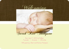 Yellow and Brown Linen Baby Announcement