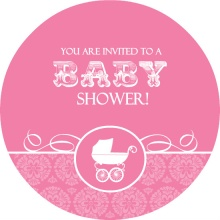 Pink Vintage Pram Girl Baby Shower Invitation