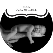 Modern Black and White Photo Birth Announcement