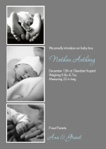 Triple Photo Birth Announcement