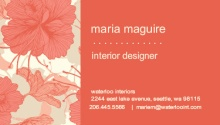 Coral Flowers Business Card