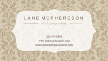 Brown Damask Frame Business Card