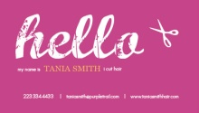 Purple Hello Hair Stylist Business Card