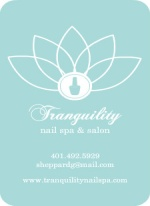 Blue and White Lotus Nail Spa Business Card