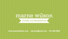 Green and White Herringbone Business Card
