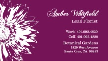 Purple and White Sunflower Business Card