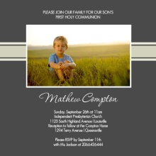 Regal Gray Photo First Communion Invitation