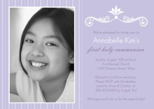 Lavender Photo First Communion Invitation