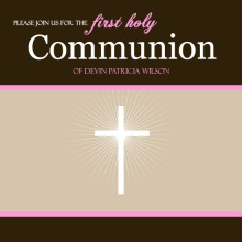 Pink and Brown Holy Communion Invitation