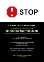 Black and White Family Reunion Invitation