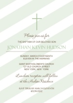 Diagonal Green Stripes with Cross Christening Invitation