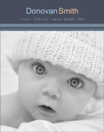 Simple Gray Stripes Photo Birth Announcement