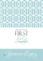 Modern Aqua First Communion Invitations