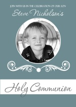 Formal Blue Photo Communion Invitation
